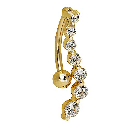JewelryWeb Solid 14k Yellow or White Gold Journey Round Cubic Zirconia CZ S-Shape Top Mount Belly Button Ring Dangle (4mm x 24mm) (Yellow-Gold)