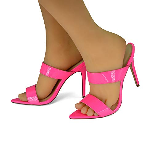 (Anne Michelle Womens Pointy Toe Stiletto Heel Double Band Mules Pump Sandals Shoes, Neon Pink Size 9)