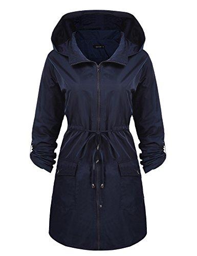 cooshional Femmes Manteau  Vent  Capuche Manches Longues Fermeture  Glissire Lache Outwear Windbreak Bleu Fonc