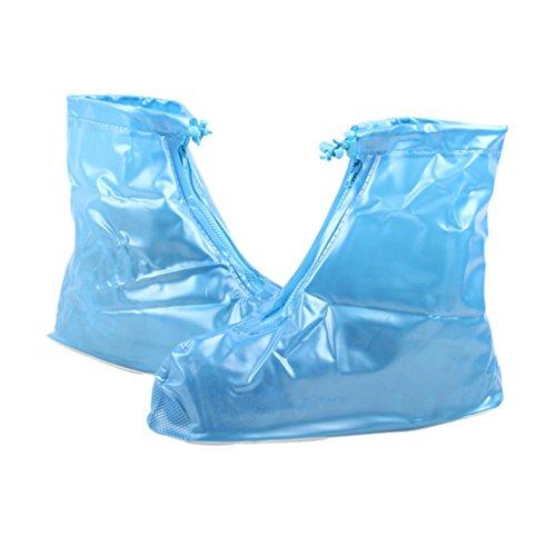 PVC Dauerhaft Reise Outdoor Wasserdicht Flatties Regen Überschuhe Blau Größe S