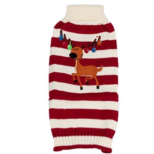 WEUIE Hot Sale Reindeer Pet Puppy Cat Sweater Striped Knit Crocheted Coat (M,Red) -