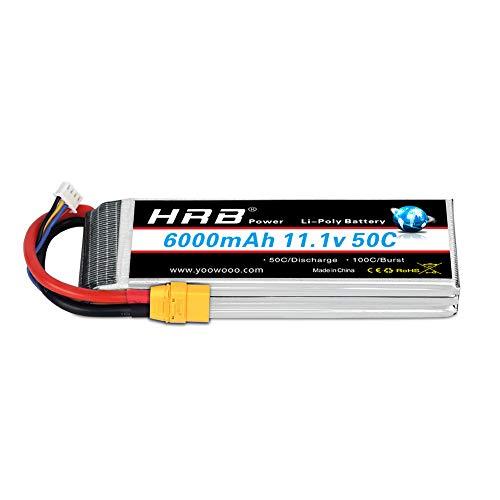 HRB 3S Lipo Battery 11.1V 6000mah 50C XT90 Plug for Traxxas RC Cars Slash vxl Slash 4x4 vxl E-maxx Brushless Axial e-revo Brushless and Spartan Models