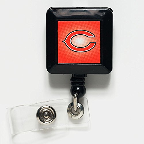 WinCraft Chicago Bears Official NFL 1 inch x 1 inch Retractable Badge Holder Key Chain Keychain by 141262 - Chicago Bears Retractable Badge Holder