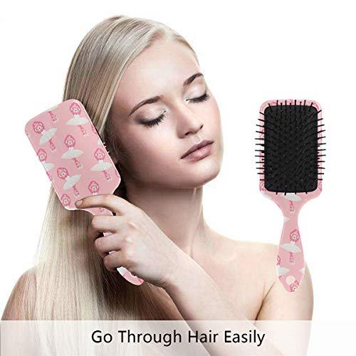 Hair Brush Natural Boar Bristle Hairbrush Pink Monkey Ballerina Dance Air Cushion Plastic Comb for Women Girls Men to Reduce Hair Breakage Anti Static by domook