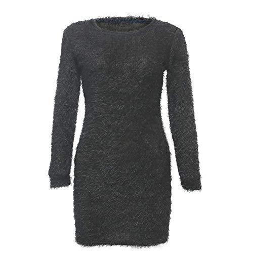 POQOQ Dress Sweater Women Long Sleeve Solid Sweater Fleece Warm Basic Short M Gray