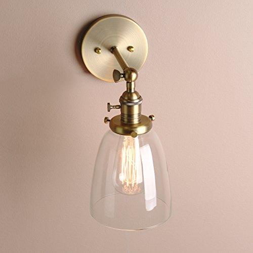 Permo single sconce with oval cone clear glass shade 1 light wall permo single sconce with oval cone clear glass shade 1 light wall sconce wall lamp vintage nostalgic edison filament bulb included mozeypictures Choice Image