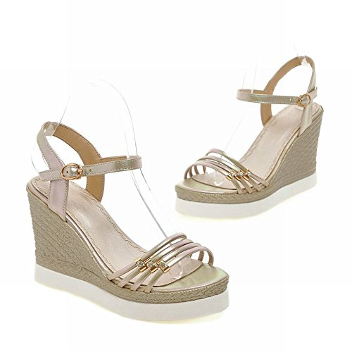 Fashion Open Buckle Womens Carolbar Summer Gold Wedges Toe Rhinestone Party Sandals HpTAnwPq