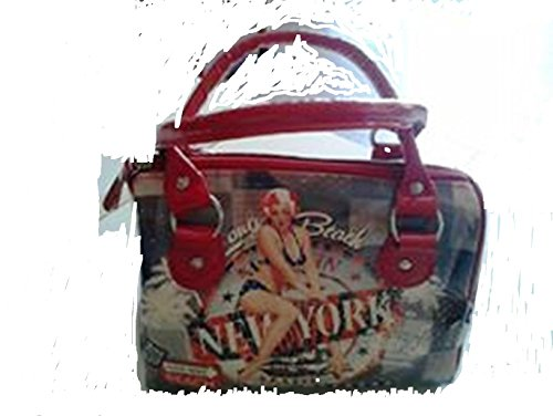 CARTOGI PIN UP NEW YORK borsa a mano azzurra con rifiniture rosse