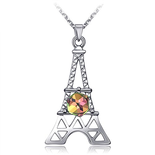 (Paris Eiffel Tower Charm Pendant Necklace For Women 18k Rose Gold /White Gold Plated Jewelry Crystal Necklaces (White Gold Plated))