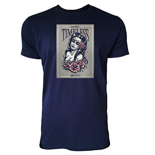 SINUS ART ® Grunge Mädchen mit Rosen - Timeless Herren T-Shirts in Navy Blau Fun Shirt mit tollen Aufdruck