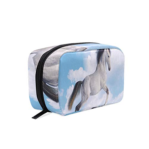 Majestic White Horse Cosmetic Bag Black Zipper Storage Bag Portable Ladies Travel Square Makeup Brushes Bag -