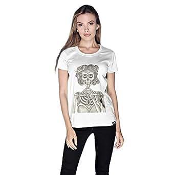 Creo Miss Coco Skull T-Shirt For Women - S, White