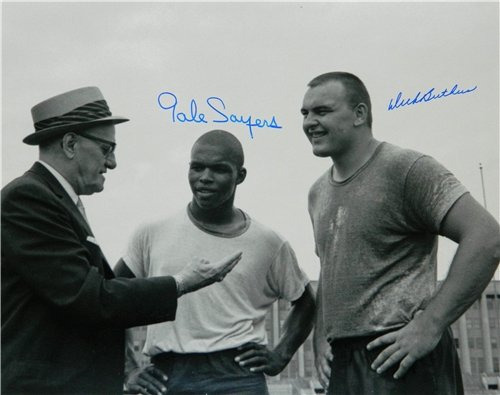 Dick Butkus & Gale Sayers Autographed/Hand Signed Chicago Bears B&W 16x20 Photo w/George Halas