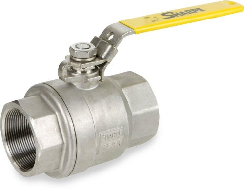 Sharpe Valves 50M76 Series Stainless Steel 316 Ball Valve, Two Piece, Inline, Lever Handle, 1-1/2