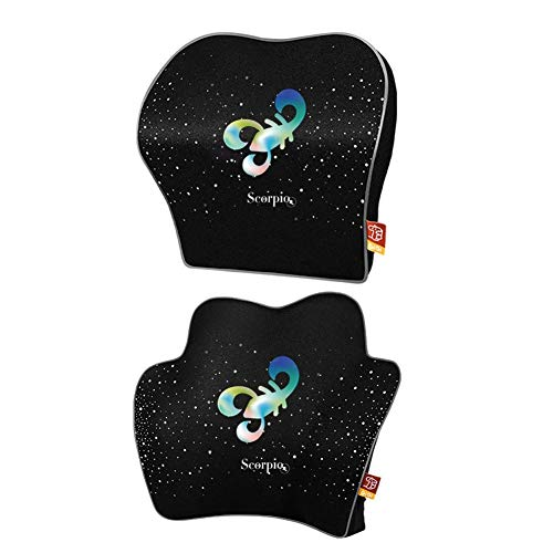 Winter-snow 2 Pcs Lumbar Support Back Cushion Neck Pillow Memory Foam Designed for Lower Back Pain Relief for Office Chair, Car Seat
