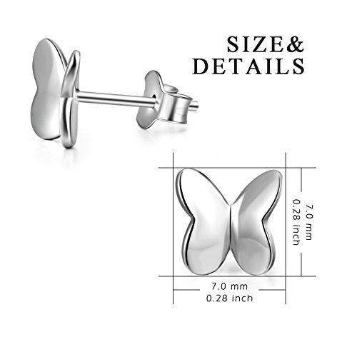 Small Butterfly Earrings Sterling Silver High Polished Cute Butterfly Jewelry for Women Girls by LUHE (Image #2)