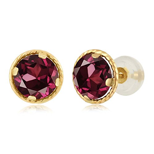 - 2.00 Ct Round 6mm Red Rhodolite Garnet 14K Yellow Gold Stud Earrings
