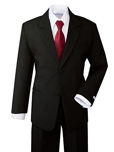 (Spring Notion Boys' Formal Dress Suit Set 10 Black Suit Red Tie)