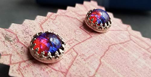 Dragons Breath stud earrings,Mexican Fire opals,Sterling Silver, crown bezel, round 9mm cabochon, studs