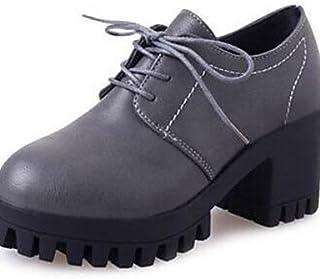 GGX/ Chaussures Femme-Bureau & Travail / Décontracté-Noir / Gris-Gros Talon-Creepers-Talons-Similicuir black-us5 / eu35 / uk3 / cn34 MNJMK