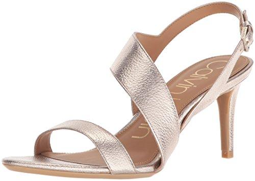 Calvin Klein Women's Lancy Heeled Sandal, Soft Platinum, 9 Medium US -