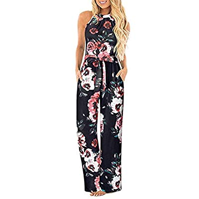 ?OFEFAN? Women's Halter Neck Sleeveless Floral Long Jumpsuit Loose Belted Pants with Pocket