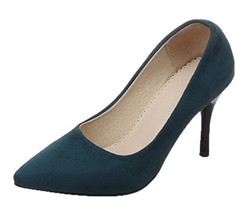 Amoonyfashion Kvinnor Frostat Pådrag Pekade-toe Kick-häl Fasta Pumpar-shoes Gröna