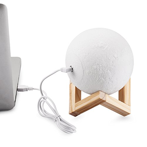 """Extra Large!!! 7.1""""/18cm Gahaya Moon Lamp, 3D Printed Light, Touch Control, Stepless Dimmable, Warm White & Cool White, PLA Material, USB Recharge"""