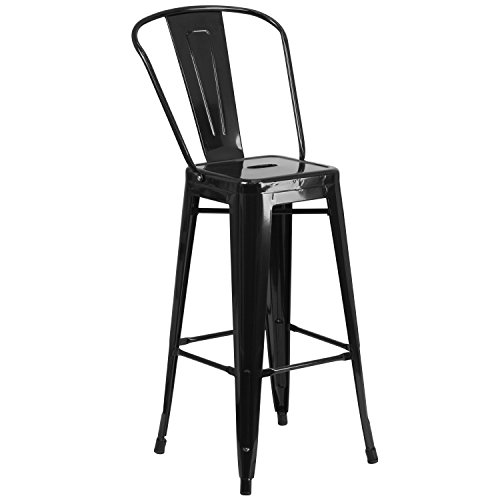 Flash Furniture 30'' High Black Metal Indoor-Outdoor Barstool with Back (No One Bar Cart)