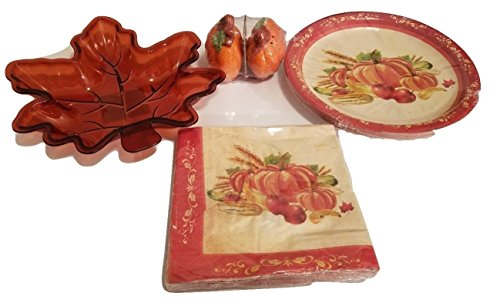 Thanksgiving Pumpkn Salt & Pepper Shaker Napkins Pot Holder Kitchen Paper Plates Platter Tray Harvest Decor Autumn Fall Decoration Decorations Set of 5 (Homemade Mickey Mouse Costume For Kids)
