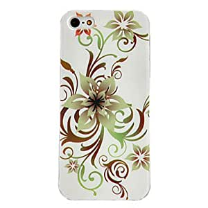 DD Brown and Green Vine Pattern PC Hard Case with Transparent Frame for iPhone 5/5S