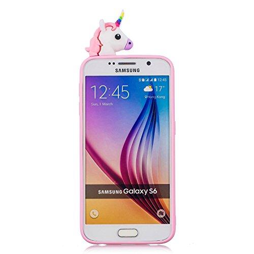 Funda S6 Edge, Carcasas Galaxy S6 Edge, MoEvn 3D Serie Gel TPU Silicona Flexible Creatividad Protectora Caso Suave Goma Mate Case Cover Anti Rasguños Bumper Cubierta Caja para Samsung Galaxy S6 Edge C Unicornio rosado