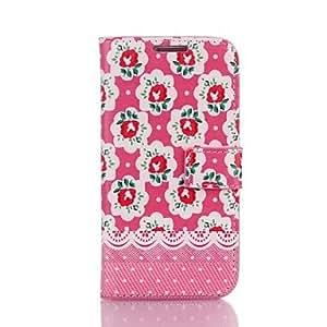 MOFY-Caso del tir—n del estampado de flores de imitaci—n de cuero con ranuras para tarjetas y soporte para Samsung Galaxy S4 i9500