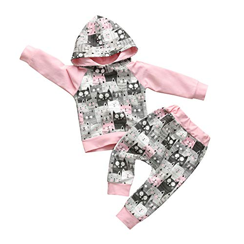 Cute Baby Girl Clothes Long Sleeve Cartoon Cat Printed Hoodie Sweatshirt and Pants Outfit Sets (12-18 Months) Pink