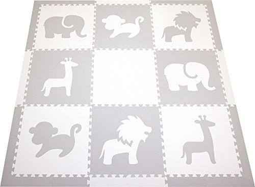 SoftTiles Safari Animals Premium Interlocking Foam Large Children's and Baby Playmat 78'' x 78'' (Light Gray, White) SCSAFWH by SoftTiles