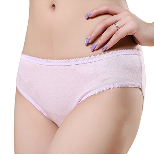 5-pcs Women's Disposable 100% Cotton Underwear for travel hotel hospital menstruation etc (Large 29-33 inch waist, Pink)