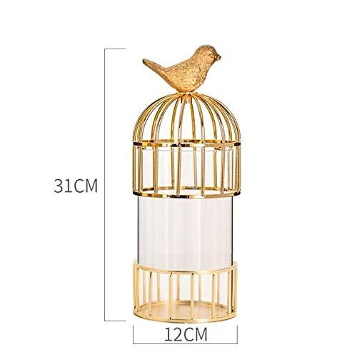(ZAMTAC Bird Cage Soft Decoration Brass Metal European Home Living Room Tv Cabinet American Model Room Decoration Vase - (Color: S))