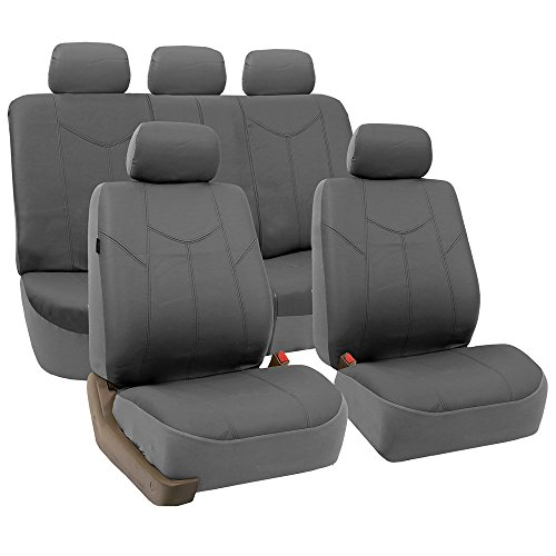 FH GROUP PU009115 Rome PU Leather Full Set Car Seat Covers, Airbag compatible and Split Bench, Solid Gray - Fit Most Car, Truck, Suv, or Van