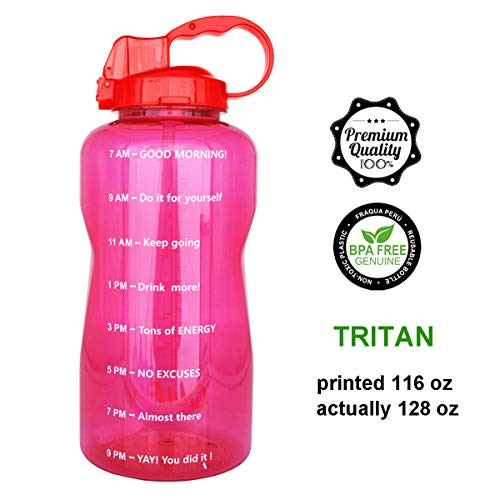 (QuiFit 128oz Portable Drinking Straw Daily Water Bottle Sport Water Jug Gallon BPA Free Non Leak Design with Time Marked to Ensure You Drink Enough of Water Throughout The Day(red))