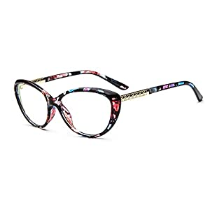 D.King Women Fashion Cat Eyeglasses Frames Clear Lens 56mm Flower