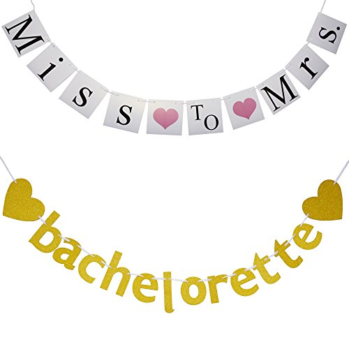 Bachelorette Party Decorations Bachelorette Banner (2-Pieces) - Cute Bridal Shower Banner - Great Value for Miss to Mrs Banner and Bachelorette - Use for Engagement Decorations or Party Photo Booth]()