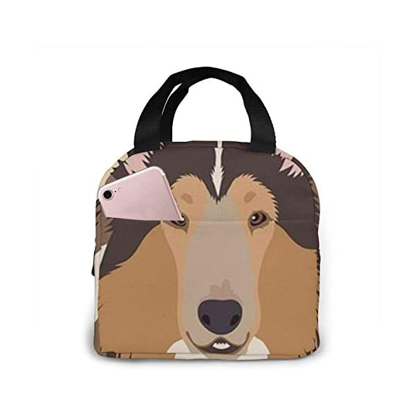 Rough Collie Portable Insulated Lunch Bag Workers Students Simple and Elegant Portable Insulation Lunch Bag 1
