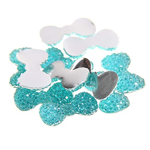 Kamas 40pcs 12x23mm Bows Bowknot Flatback Many Colors Glue On Resin Beads Non-Hotfix Rhinestones For Fabric Garments Embellishments - (Color: 09 Aquamarine)