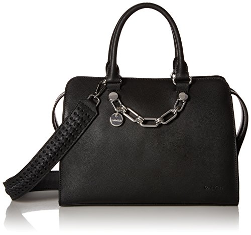 Calvin Klein womens Calvin Klein Lincoln Daytona Leather Satchel, black/silver, One Size