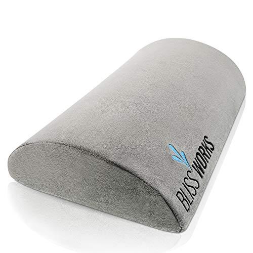 Ergonomic Foot Rest Cushion Under Desk by BlissWorks - Portable for Office Home Travel Dorm - Premium Memory Foam for Support and Comfort - Non-Slip Bottom for Stability - Bonus ()