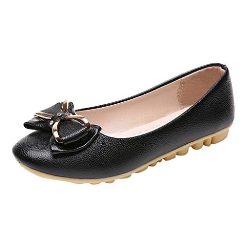 AgrinTol Women Single Shoes Women's Fashion Casual Round Toe Butterfly-Knot Shallow Slip On Flat Work Shoes