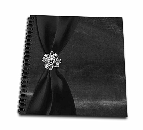 3dRose db_49157_1 Charcoal Satin Ribbon on Velvet with Jewel Drawing Book, 8 by ()