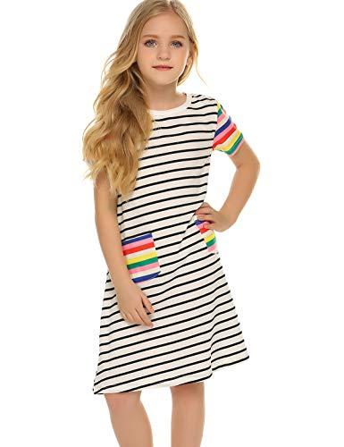Zaclotre Girls Summer Dresses Short Sleeves Black and White Stripes Rainbow Sleeve]()