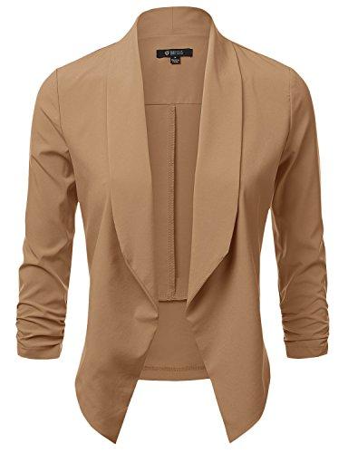 Front Blazer (DRESSIS Womens Lightweight 3/4 Ruched Sleeve Open Front Blazer Rust XL)