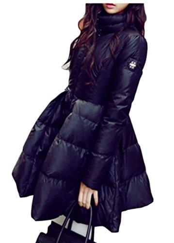 UUYUK Women's Winter Warm Solid Quilted Swing Dress Puffer Coats Outwear Black US XL by UUYUK-Women